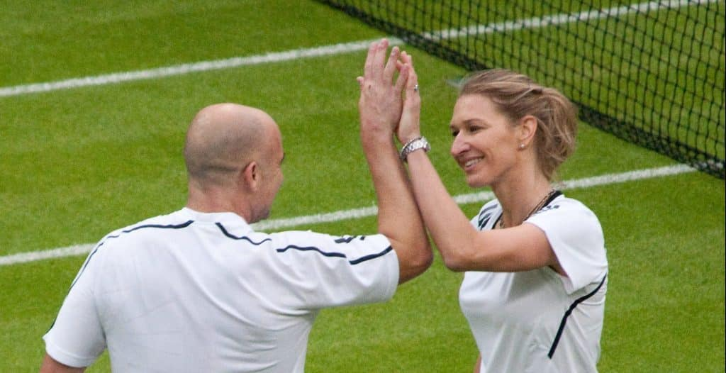 Steffi Graf and Andre Agassi at Wimbledon 2009