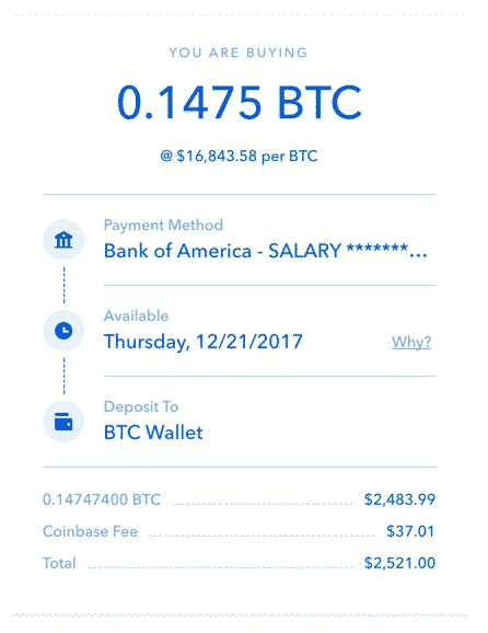 coinbase bitcoin purchase