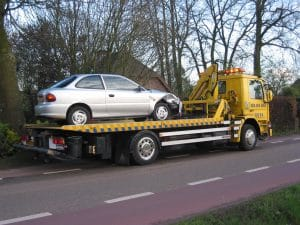 two truck with car