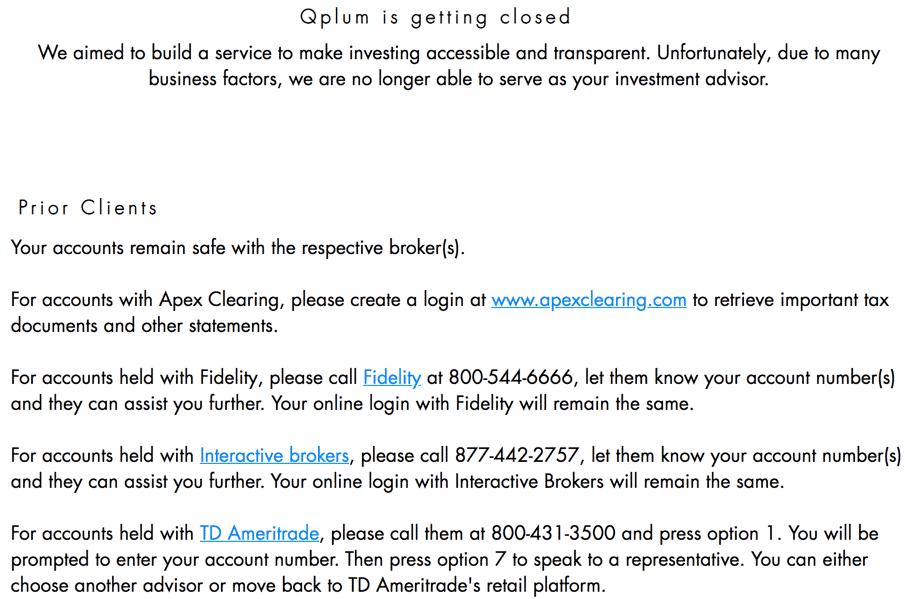 qplum shutting down