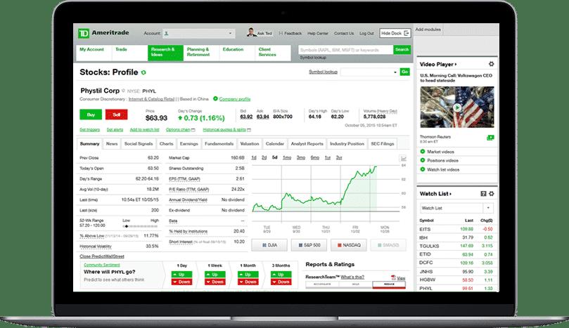 td ameritrade tools platforms web platform