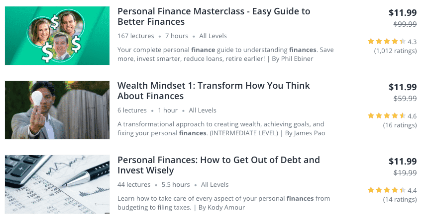 udemy personal finance course offerings