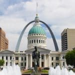 st louis arch with capitol building