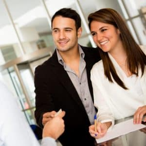 happy couple discussing finances