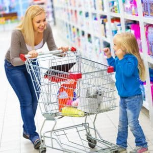 mom daughter shopping cart