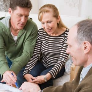 reviewing financial plan with advisor