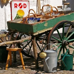 wagon baskets stool garden tools