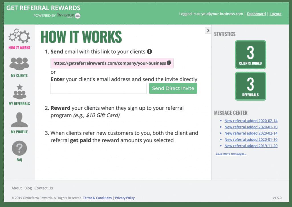 get referral rewards how it works screenshot